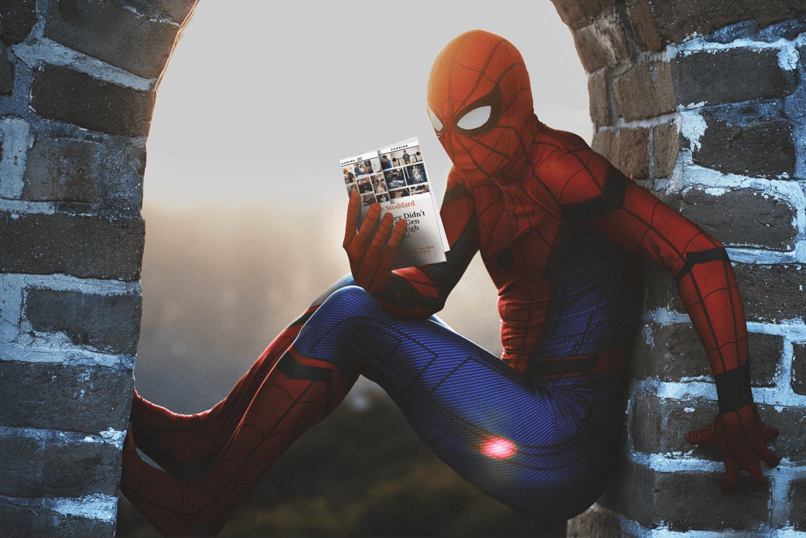 Spider Man Reads Jesse Stoddard's Books